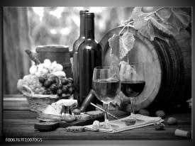 Glas Schilderij Wijn, Keuken | Zwart, Wit, Grijs