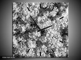 Wandklok Schilderij Bloemen | Zwart, Wit, Grijs