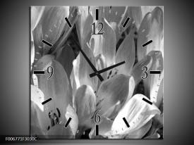 Wandklok Schilderij Bloemen, Krokus | Zwart, Grijs