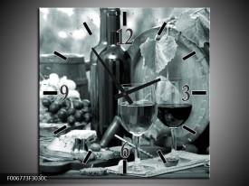 Wandklok Schilderij Wijn, Keuken | Grijs, Groen