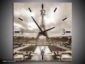 Wandklok Schilderij Parijs, Eiffeltoren | Sepia