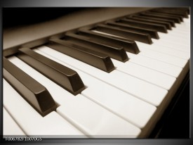 Glas Schilderij Muziek, Piano | Sepia
