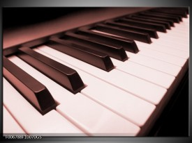Glas Schilderij Muziek, Piano | Bruin, Rood