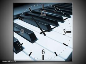Wandklok Schilderij Muziek, Piano | Blauw, Grijs