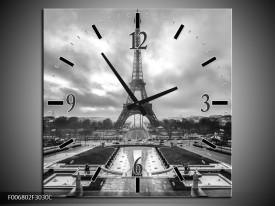 Wandklok Schilderij Parijs, Eiffeltoren | Zwart, Wit, Grijs