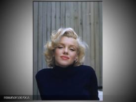 Glas Schilderij Marilyn Monroe | Zwart, Crème , Grijs