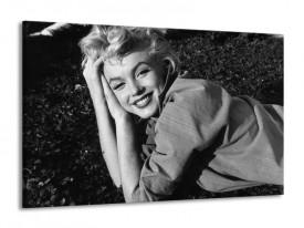 Canvas Schilderij Marilyn Monroe | Zwart, Grijs | 140x90cm 1Luik
