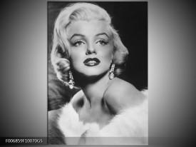 Glas Schilderij Marilyn Monroe | Zwart, Wit, Grijs