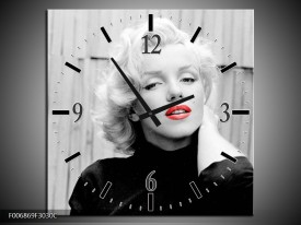 Wandklok Schilderij Marilyn Monroe | Zwart, Wit, Rood