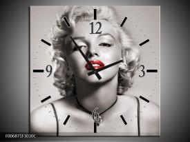 Wandklok Schilderij Marilyn Monroe | Sepia, Rood, Grijs