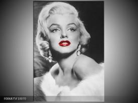 Canvas Schilderij Marilyn Monroe   Zwart, Wit, Rood