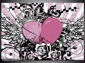 Glas Schilderij Popart, Hart | Paars, Roze, Grijs