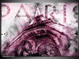 Canvas Schilderij Parijs, Eiffeltoren | Paars, Roze, Grijs