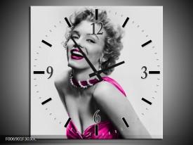 Wandklok Schilderij Marilyn Monroe | Grijs, Roze, Zwart