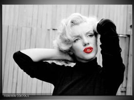 Glas Schilderij Marilyn Monroe | Grijs, Zwart, Rood