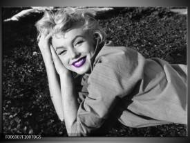 Glas Schilderij Marilyn Monroe | Grijs, Zwart, Paars