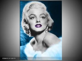 Canvas Schilderij Marilyn Monroe   Grijs, Blauw, Paars
