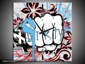Wandklok Schilderij Popart | Grijs, Blauw, Rood