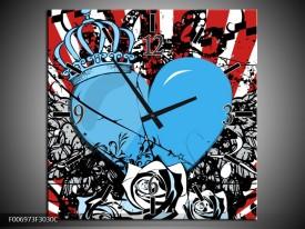 Wandklok Schilderij Popart, Hart | Blauw, Rood, Zwart