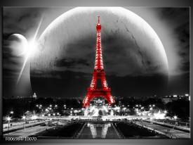 Canvas Schilderij Parijs, Eiffeltoren | Zwart, Wit, Rood
