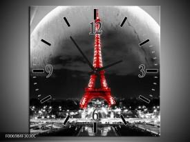 Wandklok Schilderij Parijs, Eiffeltoren | Zwart, Wit, Rood