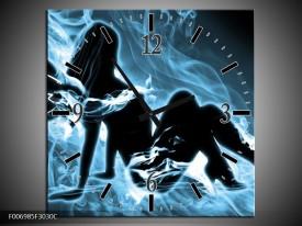 Wandklok Schilderij Vrouw, Engel | Blauw, Zwart, Grijs