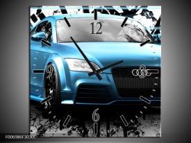 Wandklok Schilderij Audi, Auto | Blauw, Zwart, Grijs