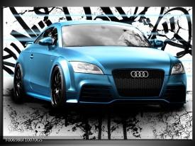 Glas Schilderij Audi, Auto   Blauw, Zwart, Grijs