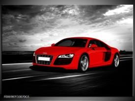 Glas Schilderij Audi, Auto | Zwart, Grijs, Rood