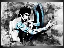 Glas Schilderij Sport, Man | Grijs, Zwart, Blauw
