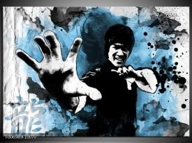 Canvas Schilderij Sport, Man   Grijs, Zwart, Blauw