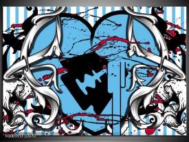 Canvas Schilderij Popart, Hart | Grijs, Zwart, Blauw