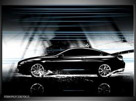 Glas Schilderij Auto   Grijs, Zwart, Blauw