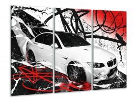 Canvas Schilderij Auto, BMW | Wit, Rood, Zwart | 120x80cm 3Luik