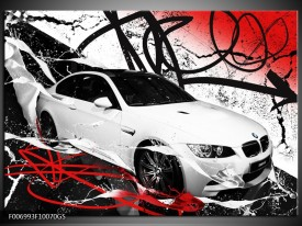 Glas Schilderij Auto, BMW   Wit, Rood, Zwart