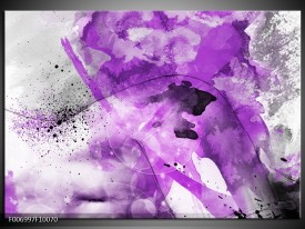 Canvas Schilderij Vrouw, Kunst | Paars, Grijs, Wit