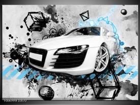 Canvas Schilderij Auto, Audi | Wit, Blauw, Zwart