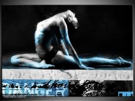 Canvas Schilderij Vrouw, Kunst | Zwart, Blauw, Grijs