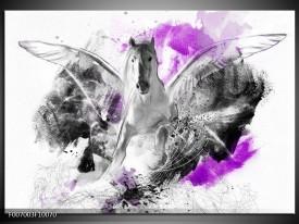 Canvas Schilderij Paard, Abstract   Paars, Grijs, Wit
