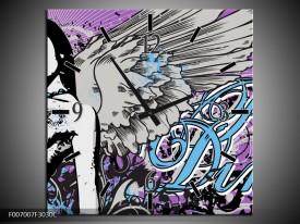 Wandklok Schilderij Vrouw, Popart | Paars, grijs, Blauw