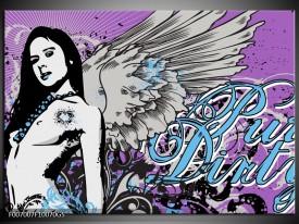 Glas Schilderij Vrouw, Popart | Paars, grijs, Blauw