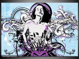 Glas Schilderij Vrouw, Popart | Blauw, Paars, Wit