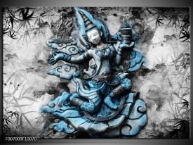 Canvas Schilderij Boeddha, Beeld | Blauw, Grijs, Zwart