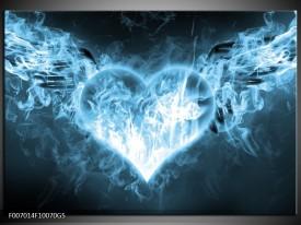 Glas Schilderij Hart, Vuur | Blauw, Wit