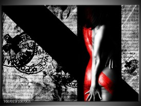 Glas Schilderij Vrouw, Kunst | Rood, Zwart, Grijs
