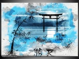 Glas Schilderij Chinese Poort   Blauw, Grijs, Zwart