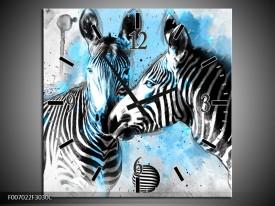 Wandklok Schilderij Zebra, Dieren | Blauw, Zwart, Wit