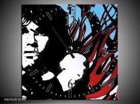 Wandklok Schilderij Popart | Zwart, Rood, Blauw