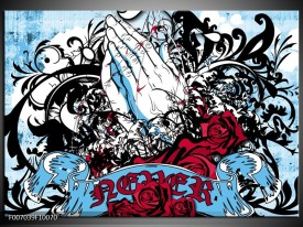 Canvas Schilderij Popart, Handen | Blauw, Rood, Zwart
