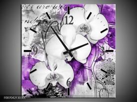 Wandklok Schilderij Bloem, Orchidee | Grijs, Paars, Wit